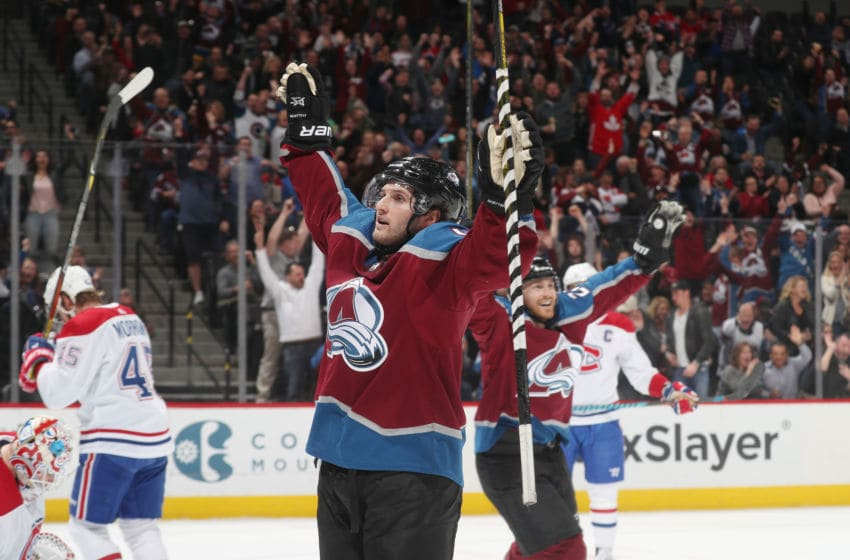 DENVER, CO - FEBRUARY 14: Alexander Kerfoot #13 of the Colorado Avalanche celebrates after a goal against the Montreal Canadiens at the Pepsi Center on February 14, 2018 in Denver, Colorado. The Avalanche defeated the Canadiens 2-0. (Photo by Michael Martin/NHLI via Getty Images)