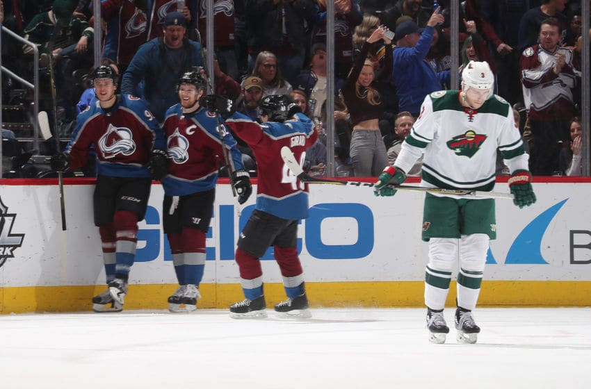 DENVER, CO - MARCH 02: Mikko Rantanen #96 of the Colorado Avalanche celebrates a goal against the Minnesota Wild with teammates Gabriel Landeskog #92 and Samuel Girard #49 at the Pepsi Center on March 2, 2018 in Denver, Colorado. (Photo by Michael Martin/NHLI via Getty Images)