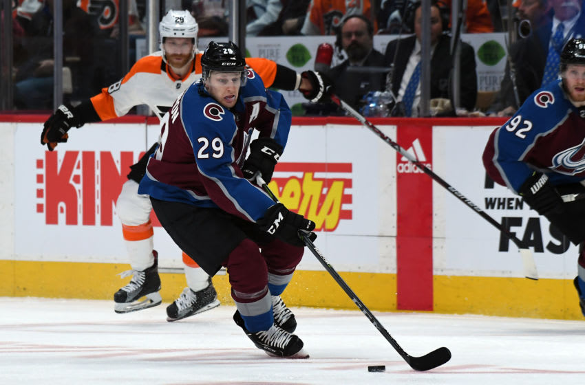 DENVER, CO MARCH 28: Colorado Avalanche center Nathan MacKinnon (29) skates down ice with the puck against the Philadelphia Flyers on March 28, 2018 at Pepsi Center in Denver, Colorado. (Photo by John Leyba/The Denver Post via Getty Images)