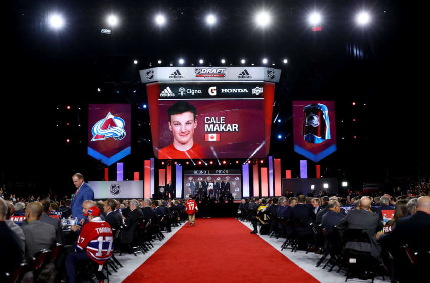 CHICAGO, IL - JUNE 23: A general view as Cale Makar is selected fourth overall by the Colorado Avalanche during the 2017 NHL Draft at the United Center on June 23, 2017 in Chicago, Illinois. (Photo by Bruce Bennett/Getty Images)