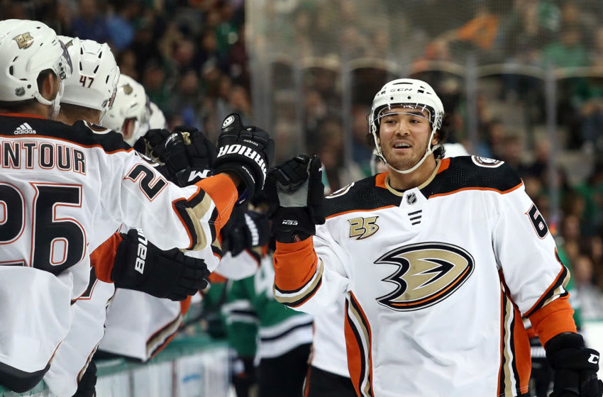 DALLAS, TX - OCTOBER 13: Kiefer Sherwood #64 of the Anaheim Ducks celebrates his goal against the Dallas Stars in the first period at American Airlines Center on October 13, 2018 in Dallas, Texas. (Photo by Ronald Martinez/Getty Images)