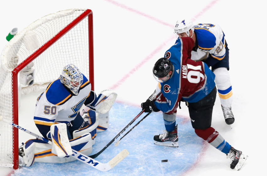 EDMONTON, ALBERTA - AUGUST 02: Nazem Kadri #91 of the Colorado Avalanche misses a second period attempt against Jordan Binnington #50 of the St. Louis Blues in a Round Robin game during the 2020 NHL Stanley Cup Playoff at the Rogers Place on August 02, 2020 in Edmonton, Alberta, Canada. (Photo by Jeff Vinnick/Getty Images)