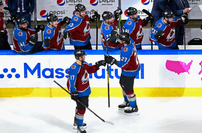 EDMONTON, ALBERTA - AUGUST 02: Ryan Graves #27 of the Colorado Avalanche celebrates his third period goal against the St. Louis Blues in a Round Robin game during the 2020 NHL Stanley Cup Playoff at the Rogers Place on August 02, 2020 in Edmonton, Alberta, Canada. (Photo by Jeff Vinnick/Getty Images)