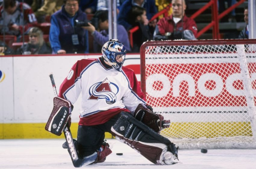 15 Dec 1997: Goaltender Marc Denis of the Colorado Avalanche in action during a game against during a game against the Toronto Maple Leafs at the McNichols Arena in Denver, Colorado. The Avalanche won the game 3-2. Mandatory Credit: Brian Bahr /Allspor
