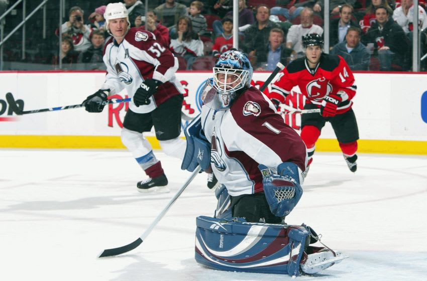 NEWARK, NJ - FEBRUARY 26: Andrew Raycroft #1 of the Colorado Avalanche defends his net against the New Jersey Devils at the Prudential Center on February 26, 2009 in Newark, New Jersey. (Photo by Jim McIsaac/Getty Images)
