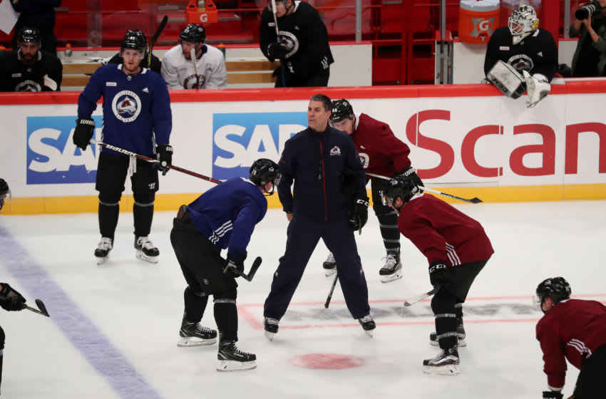 STOCKHOLM, SWEDEN - NOVEMBER 09: Head coach Jared Bednar of the Colorado Avalanche directs his team during practice at the Ericsson Globe on November 9, 2017 in Stockholm, Sweden. (Photo by Michael Martin/NHLI via Getty Images)