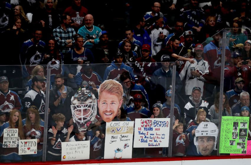 DENVER, COLORADO - MAY 02: Fans line the glass for warmups before the Colorado Avalanche play the San Jose Sharks during Game Four of the Western Conference Second Round during the 2019 NHL Stanley Cup Playoffs at the Pepsi Center on May 2, 2019 in Denver, Colorado. (Photo by Matthew Stockman/Getty Images)