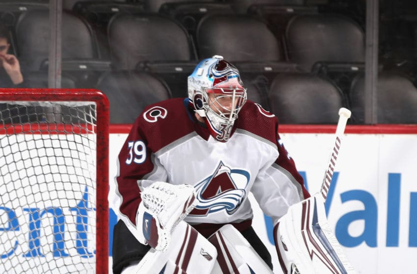 NEWARK, NEW JERSEY - JANUARY 04: Pavel Francouz #39 of the Colorado Avalanche skates in warm-ups prior to the game against the New Jersey Devils at the Prudential Center on January 04, 2020 in Newark, New Jersey. (Photo by Bruce Bennett/Getty Images)