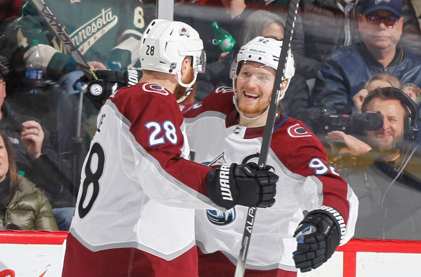 SAINT PAUL, MN - FEBRUARY 9: Gabriel Landeskog #92 celebrates his goal with teammate Ian Cole #28 of the Colorado Avalanche against the Minnesota Wild during the game at the Xcel Energy Center on February 9, 2020 in Saint Paul, Minnesota. (Photo by Bruce Kluckhohn/NHLI via Getty Images)