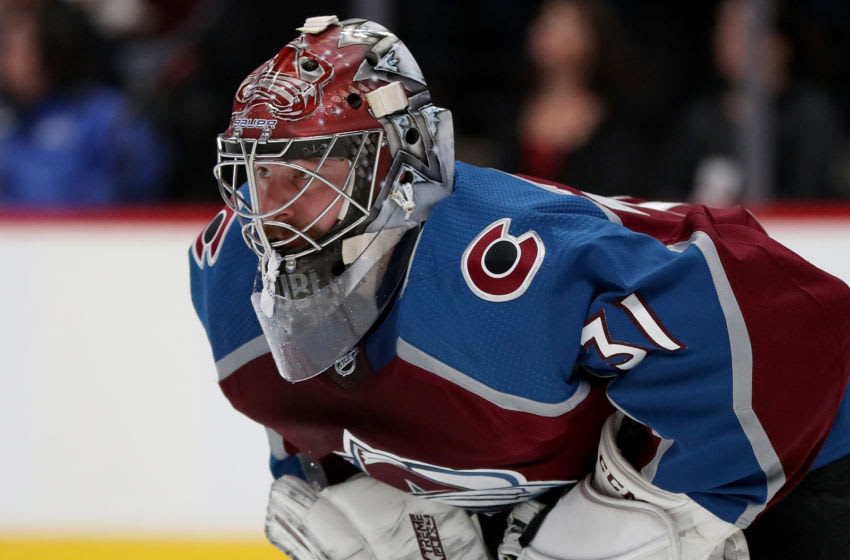DENVER, COLORADO - SEPTEMBER 19: Philipp Grubauer #31 of the Colorado Avalanche tends goal against the Dallas Stars in the first period at the Pepsi Center on September 19, 2019 in Denver, Colorado. (Photo by Matthew Stockman/Getty Images)