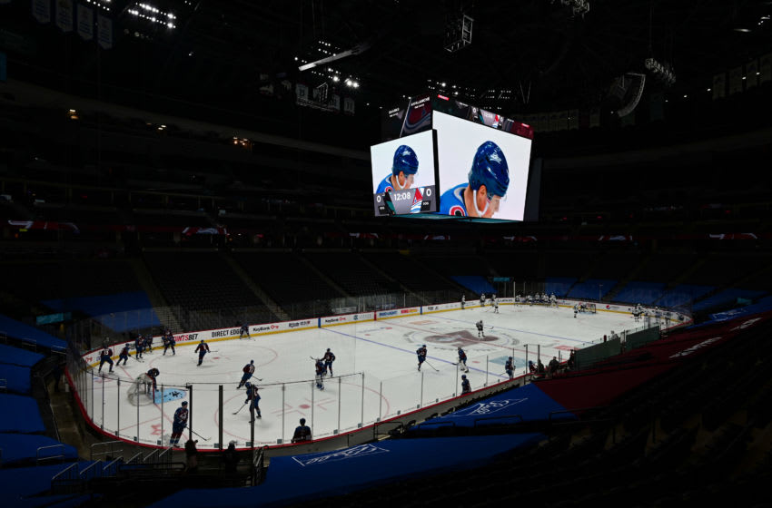 Jan 28, 2021; Denver, Colorado, USA; General view of Ball Arena before the game between the San Jose Sharks against the Colorado Avalanche. Mandatory Credit: Ron Chenoy-USA TODAY Sports
