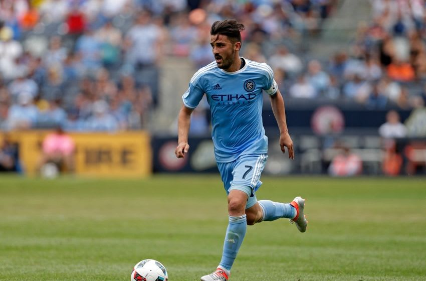 Jul 3, 2016; New York, NY, USA; New York City FC forward David Villa (7) in action against the New York Red Bulls during the second half at Yankee Stadium. Mandatory Credit: Adam Hunger-USA TODAY Sports
