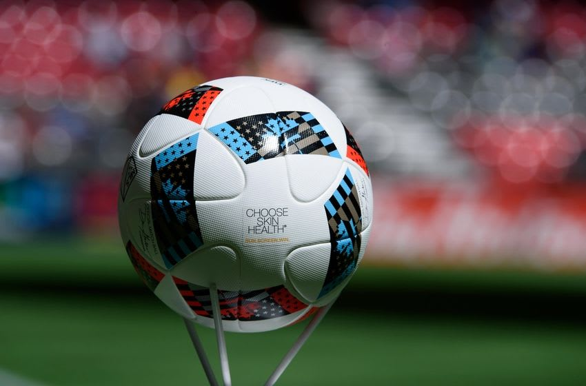 May 7, 2016; Vancouver, British Columbia, CAN; Official game ball with Neutrogena logo Choose Skin Health sit before the start of the first half as the Vancouver Whitecaps host the Portland Timbers at BC Place. The Vancouver Whitecaps won 2-1. Mandatory Credit: Anne-Marie Sorvin-USA TODAY Sports
