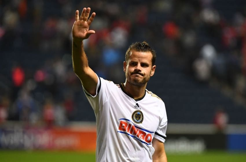 Sep 3, 2016; Chicago, IL, USA; Philadelphia Union midfielder Tranquillo Barnetta (10) reacts with fans after the second half at Toyota Park. Chicago defeated Philadelphia 3-0. Mandatory Credit: Mike DiNovo-USA TODAY Sports