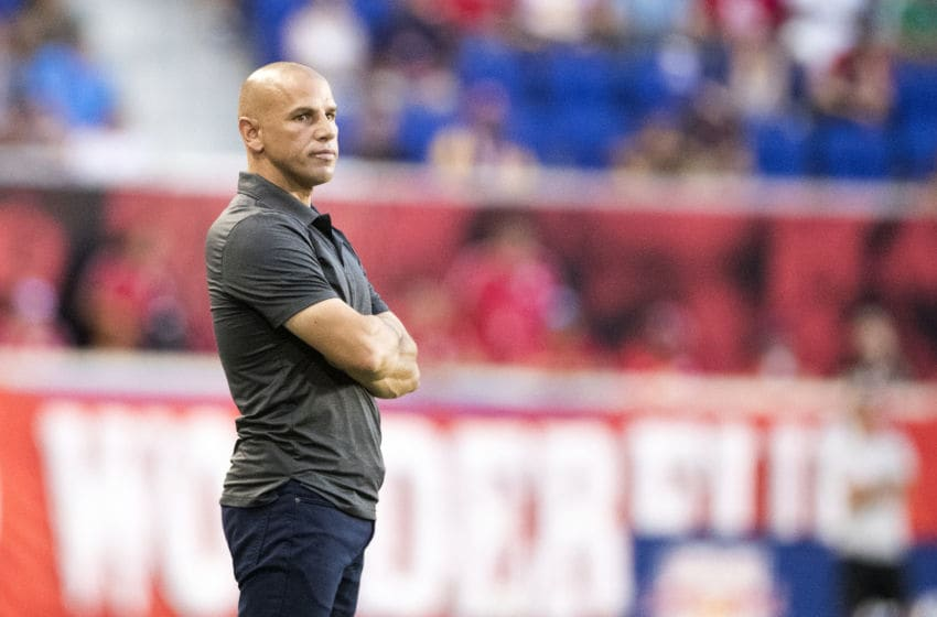 HARRISON, NEW JERSEY- August 5: Chris Armas, head coach of New York Red Bulls, on the sideline during the New York Red Bulls Vs Los Angeles FC MLS regular season game at Red Bull Arena on August 5, 2018 in Harrison, New Jersey. (Photo by Tim Clayton/Corbis via Getty Images)