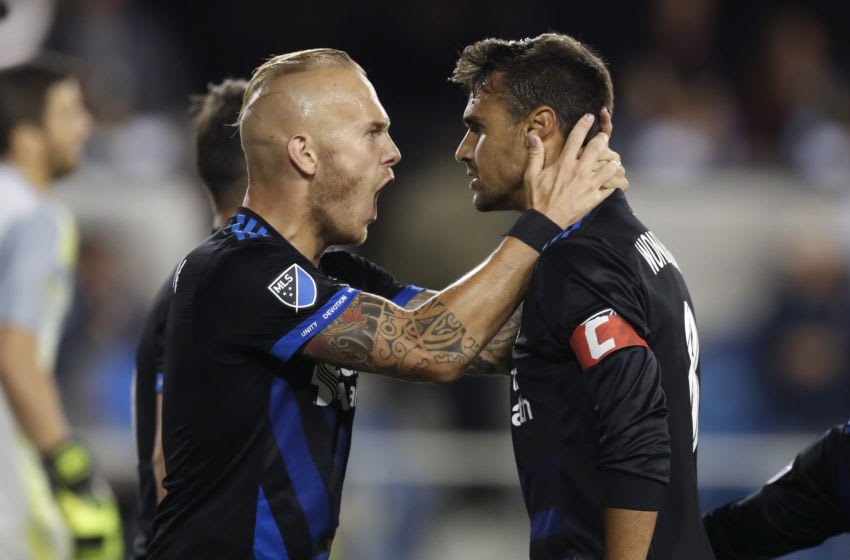 SAN JOSE, CA - AUGUST 29: San Jose Earthquakes' Chris Wondolowski (8), right, celebrates his goal with San Jose Earthquakes' Magnus Eriksson (7) against FC Dallas in the second half at Avaya Stadium in San Jose, Calif., on Wednesday, August 29, 2018. (Nhat V. Meyer/Digital First Media/The Mercury News via Getty Images)