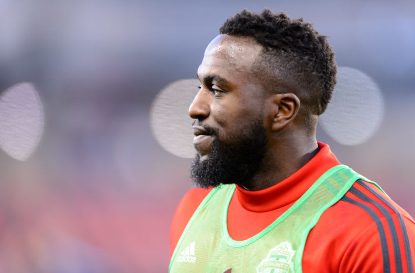 TORONTO, ON - MARCH 29: Jozy Altidore (17) of Toronto FC reacts before the MLS regular season match between Toronto FC and New York City FC on March 29, 2019, at BMO Field in Toronto, ON, Canada. (Photo by Julian Avram/Icon Sportswire via Getty Images)