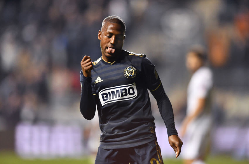 CHESTER, PA - MAY 01: Union Forward Fafa Picault (9) dances after scoring a goal in the second half during the game between the Philadelphia Union and FC Cincinnati on May 1, 2019 at Talen Energy Stadium in Chester, PA. (Photo by Kyle Ross/Icon Sportswire via Getty Images)