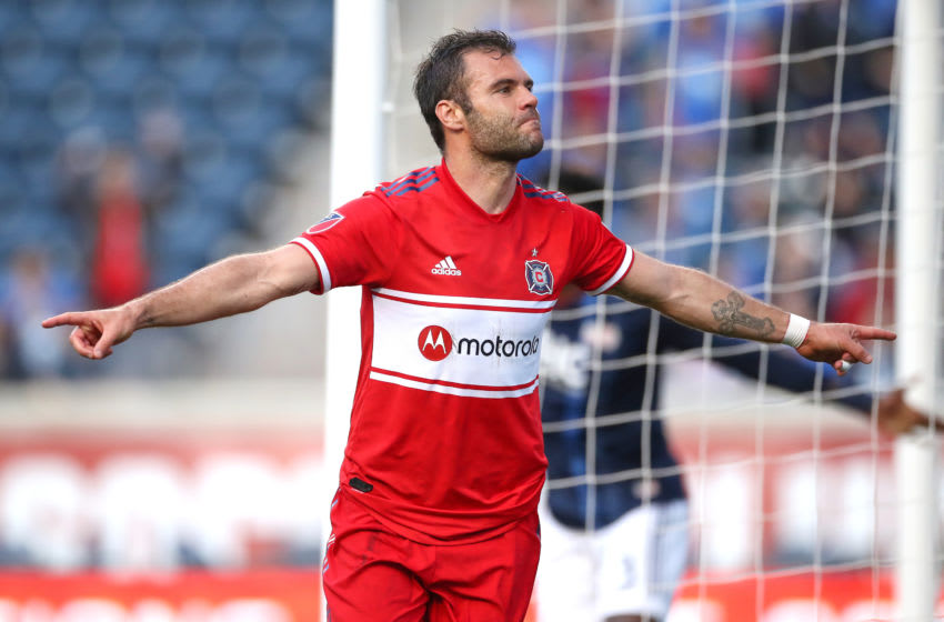 CHICAGO, IL - MAY 08: Chicago Fire forward Nemanja Nikolic (23) celebrates with teammates after scoring a goal in action during a game between the Chicago fire and the New England Revolution on May 8, 2019 at SeatGeek Stadium in Bridgeview, IL. (Photo by Robin Alam/Icon Sportswire via Getty Images)