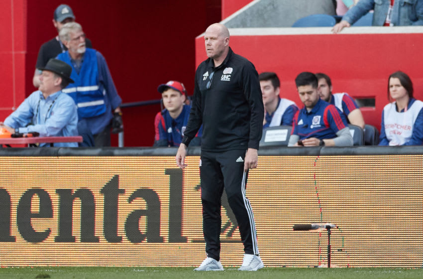 CHICAGO, IL - MAY 08: New England Revolution head coach Brad Friedel looks on in action during a game between the Chicago fire and the New England Revolution on May 8, 2019 at SeatGeek Stadium in Bridgeview, IL. (Photo by Robin Alam/Icon Sportswire via Getty Images)