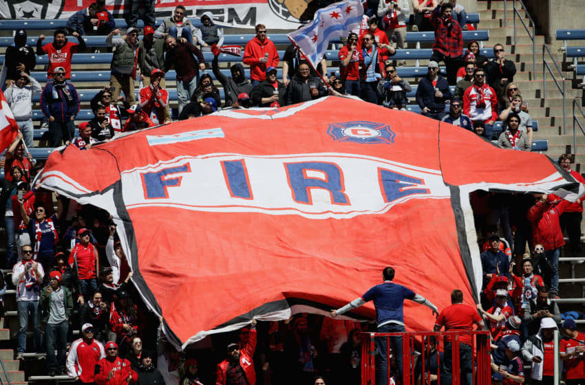 BRIDGEVIEW, ILLINOIS - APRIL 20: Fans unfurl a large Chicago Fire jersey after the Fire scored a goal against the Colorado Rapids at SeatGeek Stadium on April 20, 2019 in Bridgeview, Illinois. The Fire defeated the Rapids 4-1. (Photo by Jonathan Daniel/Getty Images)