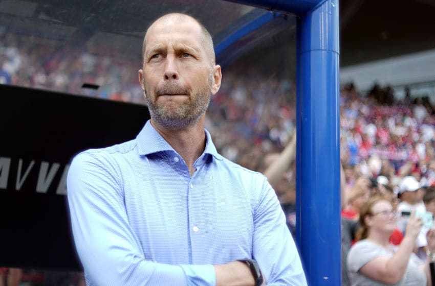 CINCINNATI, OH - JUNE 09: United States head coach Gregg Berhalter looks on prior to game action during a friendly international match between the United States and Venezuela on May 09, 2019 at Nippert Stadium, in Cincinnati, OH. (Photo by Robin Alam/Icon Sportswire via Getty Images)