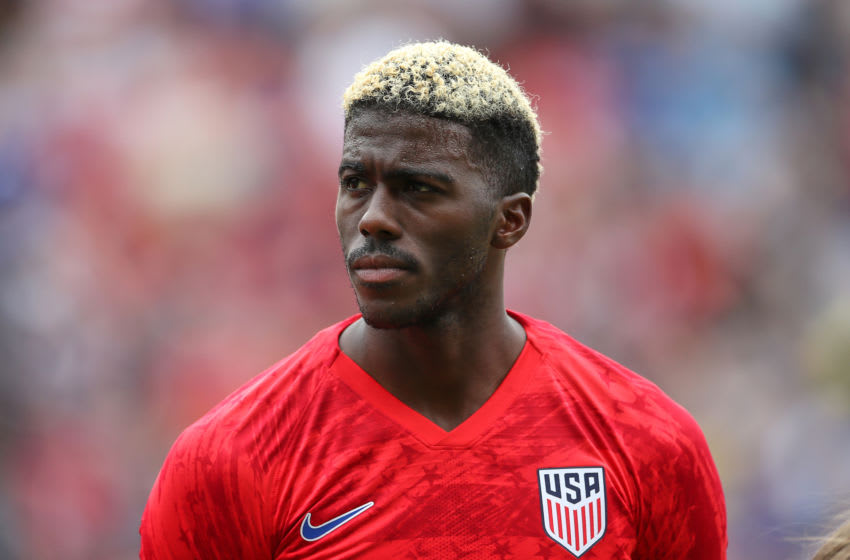 CINCINNATI, OH - JUNE 09: Gyasi Zardes (9) of the United States looks on prior to game action during a friendly international match between the United States and Venezuela on June 09, 2019 at Nippert Stadium, in Cincinnati, OH. (Photo by Robin Alam/Icon Sportswire via Getty Images)