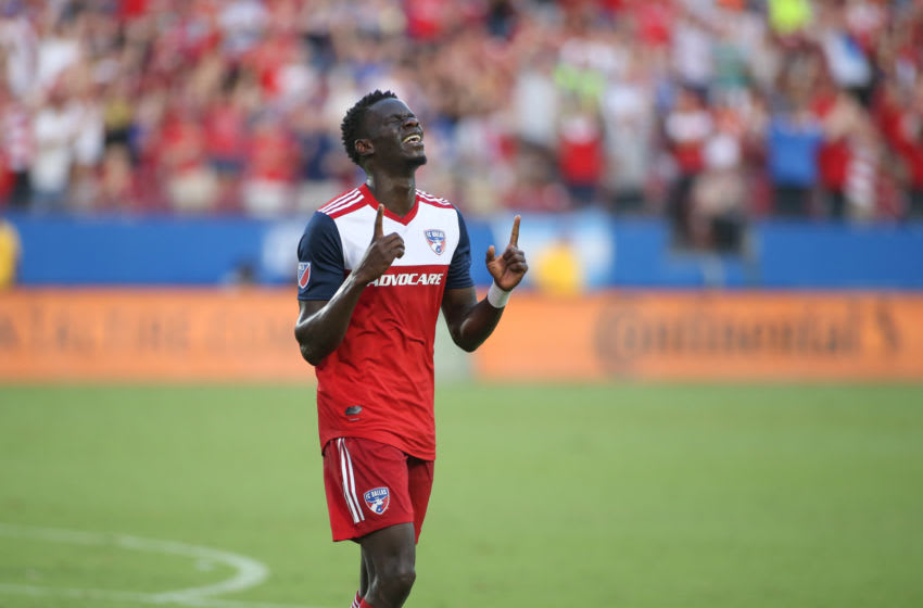 FRISCO, TX - JUNE 22: FC Dallas forward Dominique Badji (14) celebrates after scoring a goal during the game between FC Dallas and Toronto FC on June 22, 2019 at Toyota Stadium in Frisco, TX. (Photo by George Walker/Icon Sportswire via Getty Images)