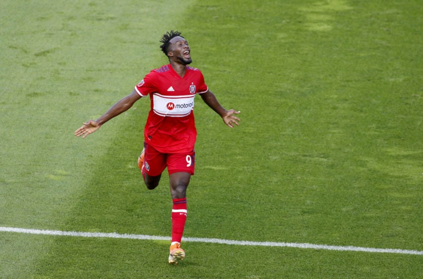 BRIDGEVIEW, ILLINOIS - JULY 03: C.J. Sapong #9 of the Chicago Fire celebrates after a goal in the game against the Atlanta United FC at SeatGeek Stadium on July 03, 2019 in Bridgeview, Illinois. (Photo by Justin Casterline/Getty Images)