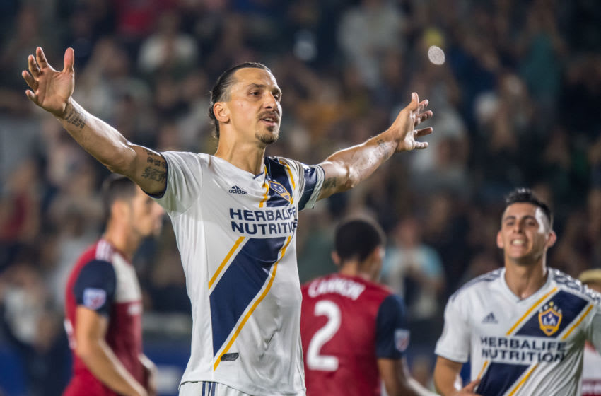 CARSON, CA - AUGUST 14: Zlatan Ibrahimovic #9 of Los Angeles Galaxy celebrates second goal during the Los Angeles Galaxy's MLS match against FC Dallas at the Dignity Health Sports Park on August 14, 2019 in Carson, California. Los Angeles Galaxy defeated FC Dallas 2-0. (Photo by Shaun Clark/Getty Images)