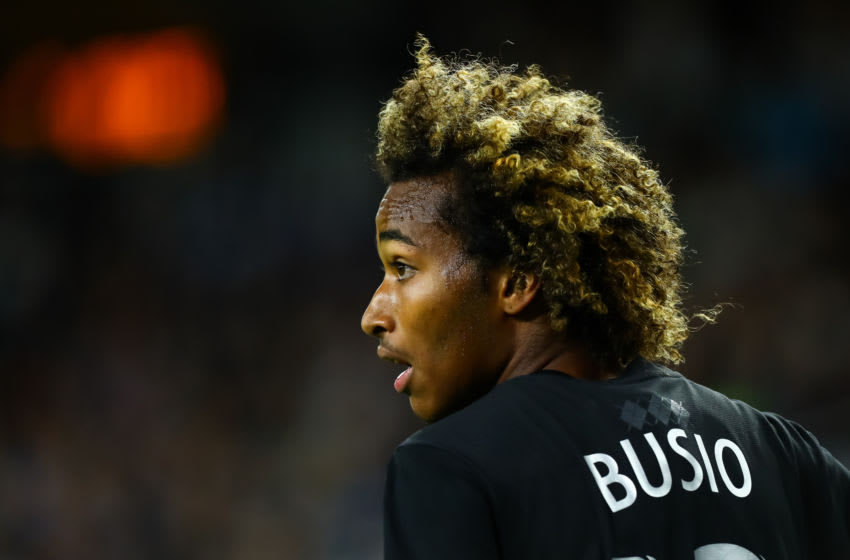 ST PAUL, MINNESOTA - SEPTEMBER 25: Gianluca Busio #13 of Sporting Kansas City looks on against Minnesota United in the first half of the game at Allianz Field on September 25, 2019 in St Paul, Minnesota. United defeated Kansas City 2-1. (Photo by David Berding/Getty Images)