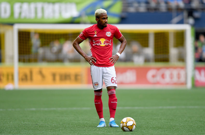 SEATTLE, WASHINGTON - SEPTEMBER 15: Michael Murillo #62 of New York Red Bulls waits for the referee to set the field during the match against the Seattle Sounders at CenturyLink Field on September 15, 2019 in Seattle, Washington. The Seattle Sounders top the New York Red Bulls 4-2. (Photo by Alika Jenner/Getty Images)