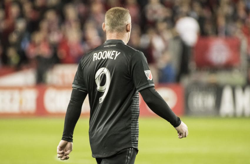 TORONTO, CANADA - 2019/10/19: Wayne Rooney (9) seen in action during the MLS game between Toronto FC and DC United at the Bmo field in Toronto. (Final score; Toronto fc 5:1 Dc United). (Photo by Angel Marchini/SOPA Images/LightRocket via Getty Images)