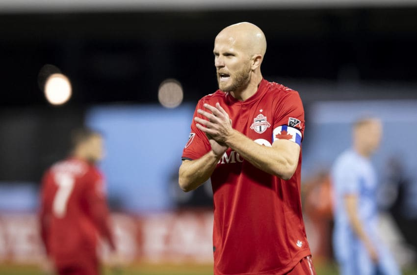 QUEENS, NY - OCTOBER 23: Captain Michael Bradley #4 of Toronto FC claps as he charges up his team during the 2nd half of the 2019 MLS Cup Major League Soccer Eastern Conference Semifinal match between New York City FC and Toronto FC at Citi Field on October 23, 2019 in the Flushing neighborhood of the Queens borough of New York City. Toronto FC won the match with a score of 2 to 1 and advances to the Eastern Conference Finals. (Photo by Ira L. Black/Corbis via Getty Images)