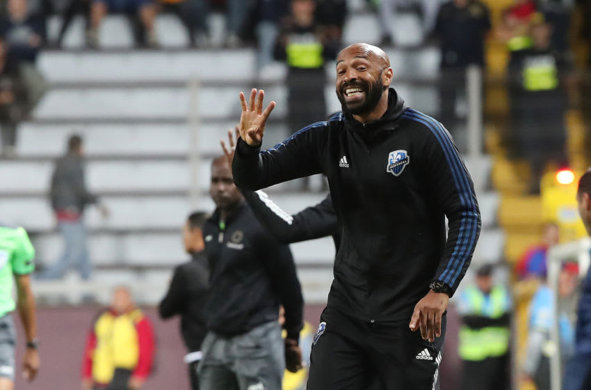 Canada's Montreal Impact coach Thierry Henry instructs his players during their CONCACAF Champions League match against Deportivo Saprissa at Ricardo Saprissa Stadium in San Jose, on February 19, 2020. (Photo by John DURAN / AFP) (Photo by JOHN DURAN/AFP via Getty Images)