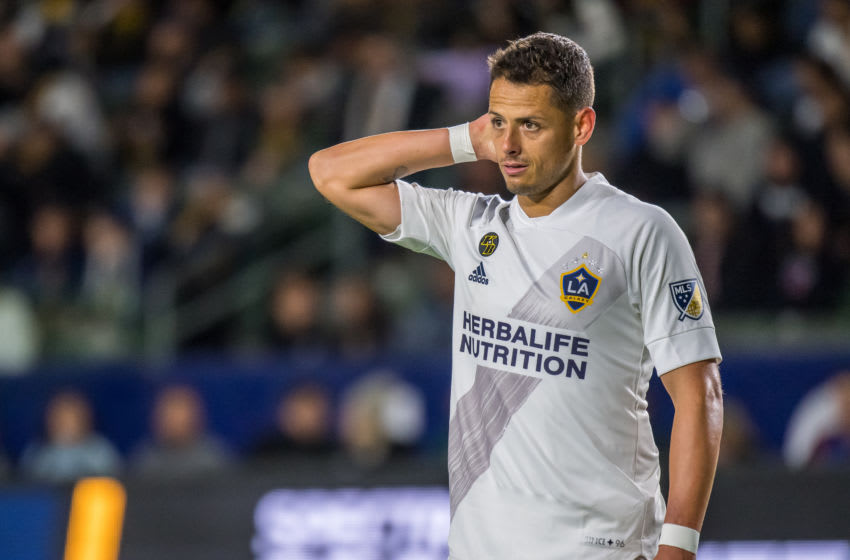 CARSON, CA - MARCH 7: Javier Hernandez #14 of Los Angeles Galaxy during the Los Angeles Galaxy's MLS match against Vancouver Whitecaps at the Dignity Health Sports Park on March 7, 2020 in Carson, California. Vancouver Whitecaps won the match 1-0 (Photo by Shaun Clark/Getty Images)