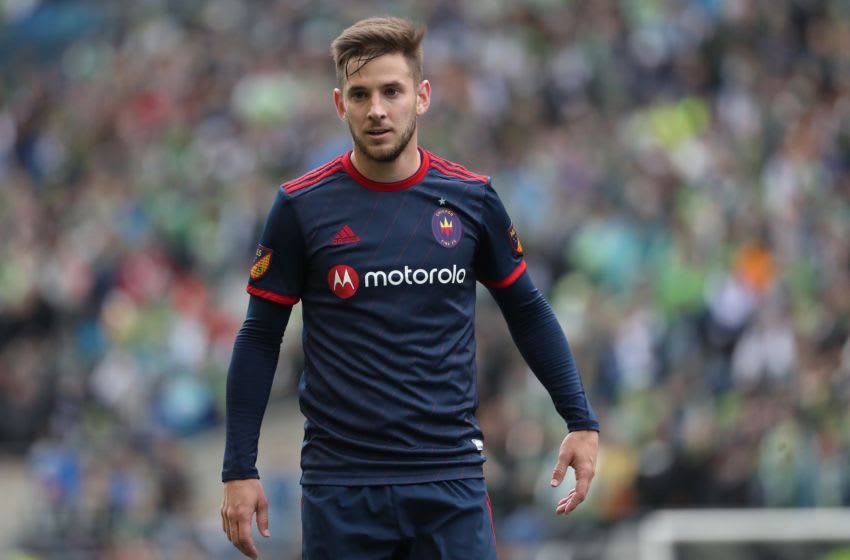 SEATTLE, WASHINGTON - MARCH 01: Alvaro Medran #10 of Chicago Fire reacts in the second half against the Seattle Sounders during their game at CenturyLink Field on March 01, 2020 in Seattle, Washington. (Photo by Abbie Parr/Getty Images)