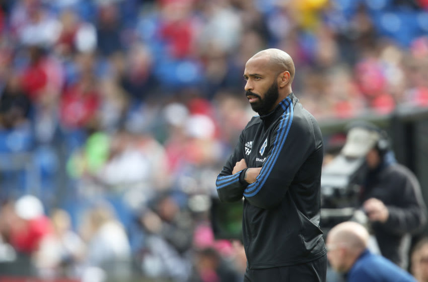 TEXAS CITY, TX - MARCH 07: Head coach Thierry Henry of Montreal Impact looks on during an MLS match between FC Dallas and Montreal Impact at Toyota Stadium on March 7, 2020 in Texas City, Texas. (Photo by Omar Vega/Getty Images)