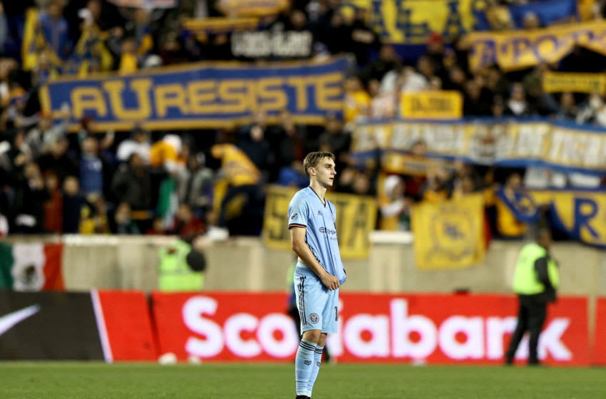 HARRISON, NEW JERSEY - MARCH 11: James Sands #16 of New York City FC reacts to the loss to UANL Tigres after Leg 1 of the quarterfinals during the CONCACAF Champions League match at Red Bull Arena on March 11, 2020 in Harrison, New Jersey.UANL Tigres defeated the New York City FC 1-0. (Photo by Elsa/Getty Images)