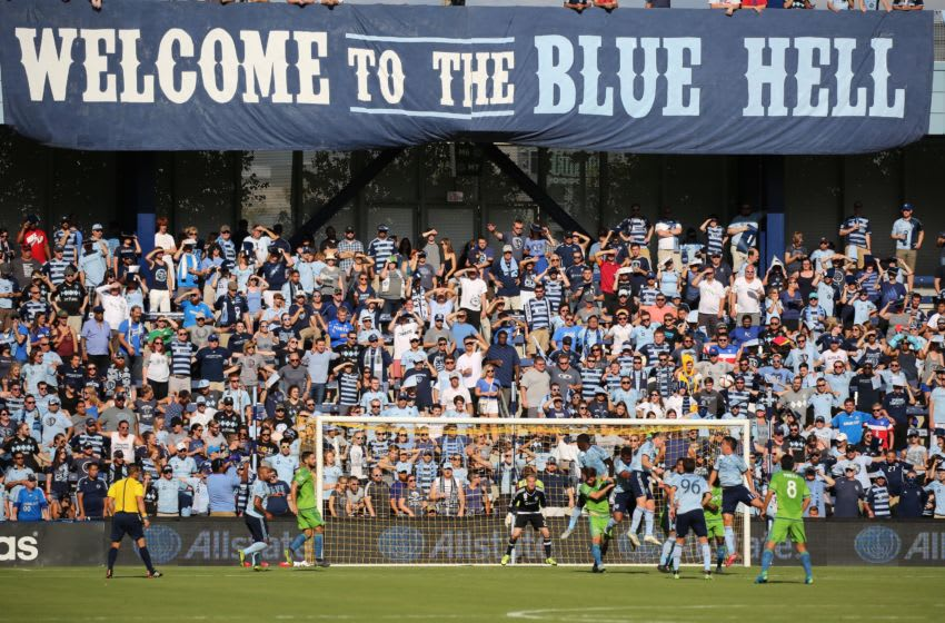 27 September 2015: Sporting KC fans in the Blue Hell section cheer in a match between Sporting KC and Seattle Sounders Sporting Park in Kansas City. (Photo by Scott Winters/Icon Sportswire) (Photo by Scott Winters/Icon Sportswire/Corbis via Getty Images)