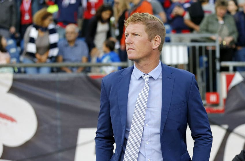 FOXBOROUGH, MA - JULY 29: Philadelphia Union head coach Jim Curtin on the bench during an MLS match between the New England Revolution and the Philadelphia Union on July 29, 2017, at Gillette Stadium in Foxborough, Massachusetts. The Revolution defeated the Union 3-0. (Photo by Fred Kfoury III/Icon Sportswire via Getty Images)
