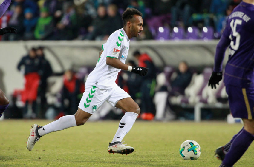 AUE, GERMANY - MARCH 19: Julian Green of Fuerth during the second Bundesliga match between FC Erzgebirge Aue and SpVgg Greuther Fuerth at Sparkassen-Erzgebirgsstadion on March 19, 2018 in Aue, Germany. (Photo by Karina Hessland-Wissel/Bongarts/Getty Images)