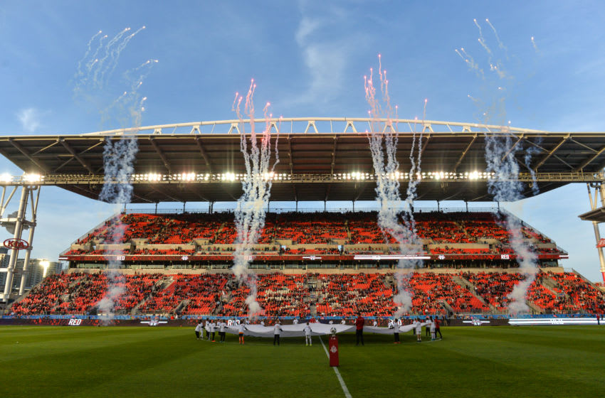 BMO FIELD, TORONTO, ONTARIO, CANADA - 2018/05/18: View at BMO Field before 2018 MLS Regular Season match between Toronto FC (Canada) and Orlando City SC (USA) at BMO Field (Score 2:1). (Photo by Anatoliy Cherkasov/SOPA Images/LightRocket via Getty Images)