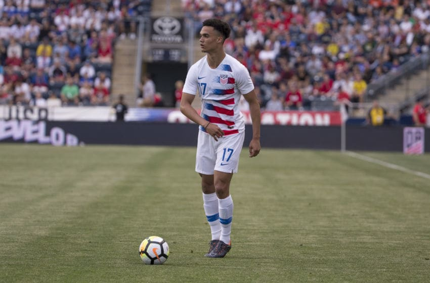 CHESTER, PA - MAY 28: Antonee Robinson #17 of the United States controls the ball during the friendly soccer match against Bolivia at Talen Energy Stadium on May 28, 2018 in Chester, Pennsylvania. (Photo by Mitchell Leff/Getty Images)