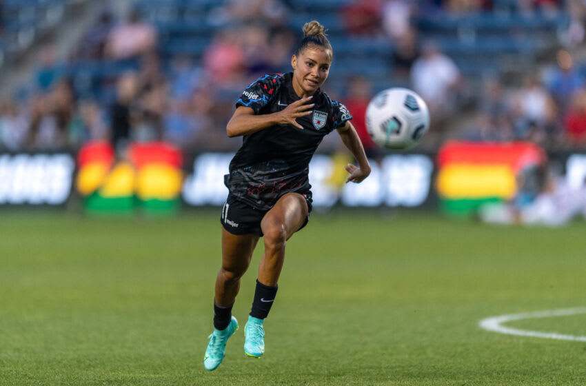 Sarah Gorden #11 of the Chicago Red Stars runs after a ball during a game between Washington Spirit and Chicago Red Stars at SeatGeek Stadium on June 19, 2021 in Bridgeview, Illinois. (Photo by Daniel Bartel/ISI Photos/Getty Images)