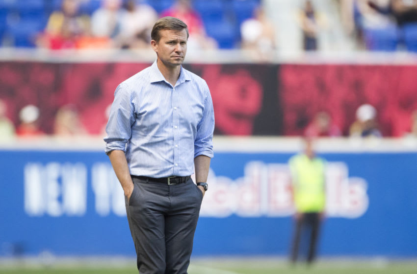 HARRISON, NEW JERSEY- APRIL 14: Jesse Marsch, head coach of New York Red Bulls on the sideline during the New York Red Bulls Vs Montreal Impact MLS regular season game at Red Bull Arena on April 14, 2018 in Harrison, New Jersey. (Photo by Tim Clayton/Corbis via Getty Images)