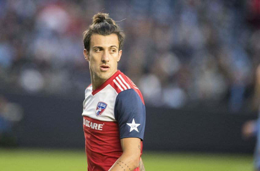 NEW YORK, NEW YORK - April 29: Maximiliano Urruti #37 of FC Dallas in action during the New York City FC Vs FC Dallas regular season MLS game at Yankee Stadium on April 29, 2018 in New York City. (Photo by Tim Clayton/Corbis via Getty Images)
