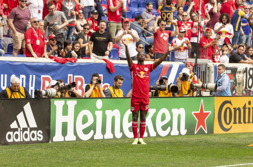 RED BULL ARENA, HARRISON, NEW JERSEY, UNITED STATES - 2018/05/05: Bradley Wright-Phillips (99) of New York Red Bulls celebrates scoring goal during regular MLS game against NYCFC at Red Bull Arena Red Bulls won 4 - 0. (Photo by Lev Radin/Pacific Press/LightRocket via Getty Images)