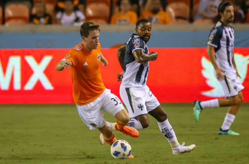HOUSTON, TX - JUNE 29: Houston Dynamo midfielder Todd Wharton (35) turns the ball toward the strike zone during the BBVA Compass Dynamo Charities Cup soccer match between CF Monterrey and Houston Dynamo on June 29, 2018 at BBVA Compass Stadium in Houston, Texas. (Photo by Leslie Plaza Johnson/Icon Sportswire via Getty Images)
