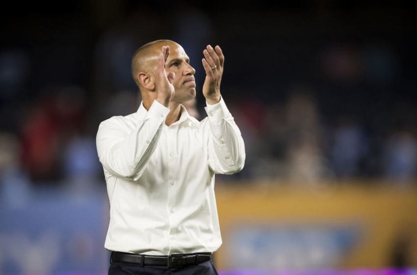 BRONX, NY - JULY 08: Head Coach Chris Armas of New York Red Bulls claps to fans after the Major League Soccer Hudson River Derby match between New York City FC and New York Red Bulls at Yankee Stadium on July 8, 2018 in the Bronx borough of New York. New York City FC won the match with a score of 1 to 0. (Photo by Ira L. Black/Corbis via Getty Images)